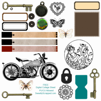 Collage sheet hearts labels motorcycle keys