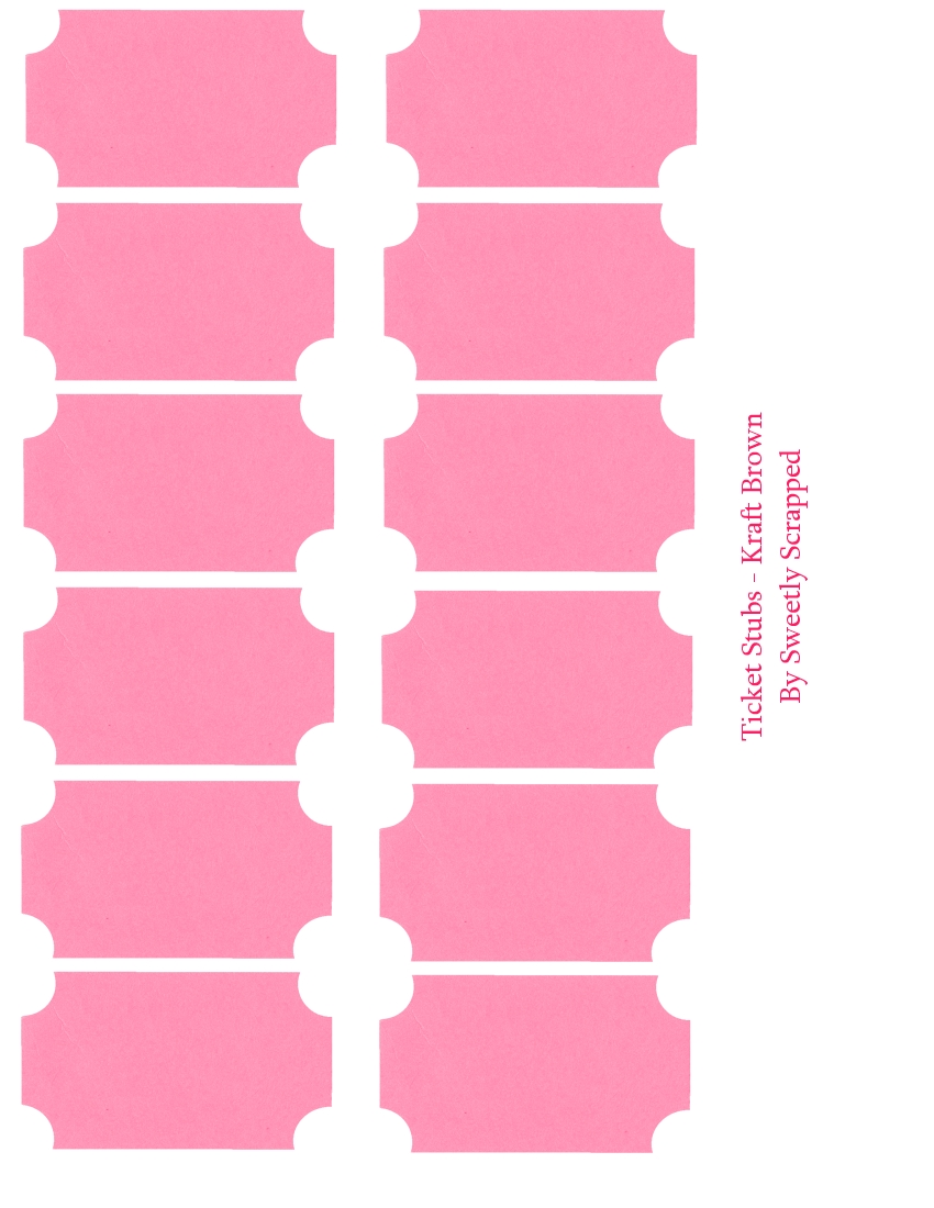 Pink Ticket Stubs  Print Tickets Free Template